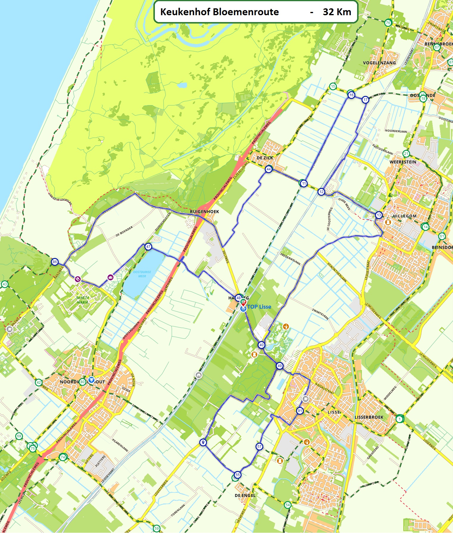 Routes, heerlijk fietsen of wandelen in een landelijke omgeving. on north holland map, het loo palace map, van gogh museum map, limburg map, rijksmuseum map, hoek van holland map, utrecht map, randstad map, amersfoort map, den haag map, lisse holland map,